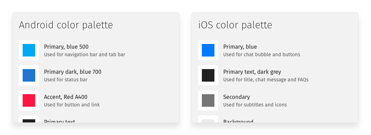 Color palette in Helpshift style guide